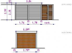Ansichten - Geräteraum-Anbau an bestehendes Carport aus Stahl - BRANDL