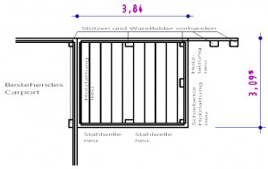 Grundriss - Geräteraum-Anbau an bestehendes Carport aus Stahl - BRANDL