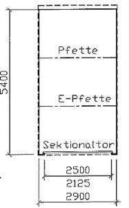 Grundriss - Einzel-Garage aus Stahl mit Sektionaltor - BRANDL