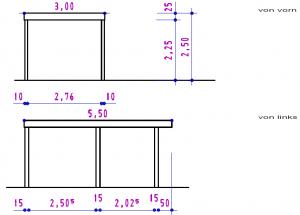 Ansichten - Einzel-Carport aus Stahl mit Wandelementen bauseits - BRANDL