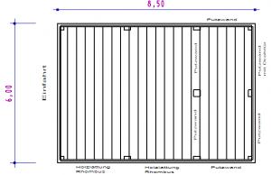 Grundriss - Doppel-Carport aus Stahl – mit Geräteraum (Abstellkammer) hinten integriert - BRANDL
