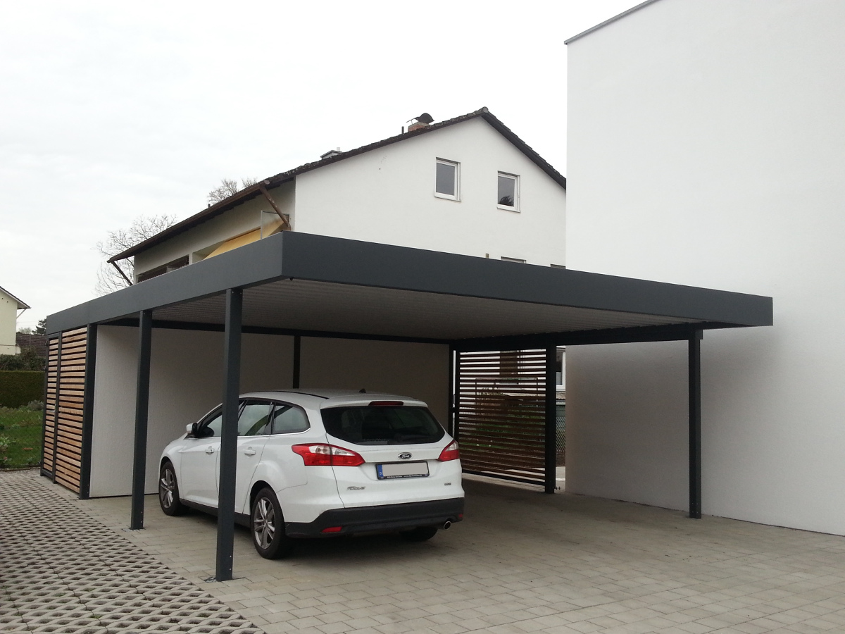Doppel-Carport mit Geräteraum (Abstellraum) hinten integriert - BRANDL