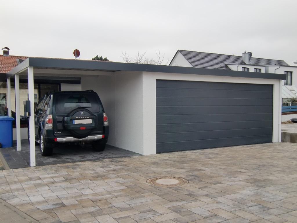 Doppelgarage mit Großtor (Großraumgarage) aus STAHL + Anbau-Carport - BRANDL
