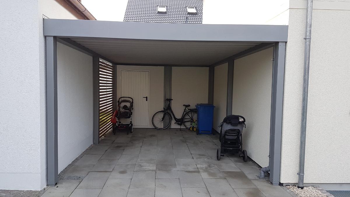 einzel carport mit ger teraum abstellkammer hinten. Black Bedroom Furniture Sets. Home Design Ideas