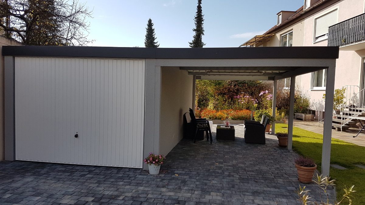 STAHL-Einzelgarage mit Schwingtor + Anbau-Carport - BRANDL