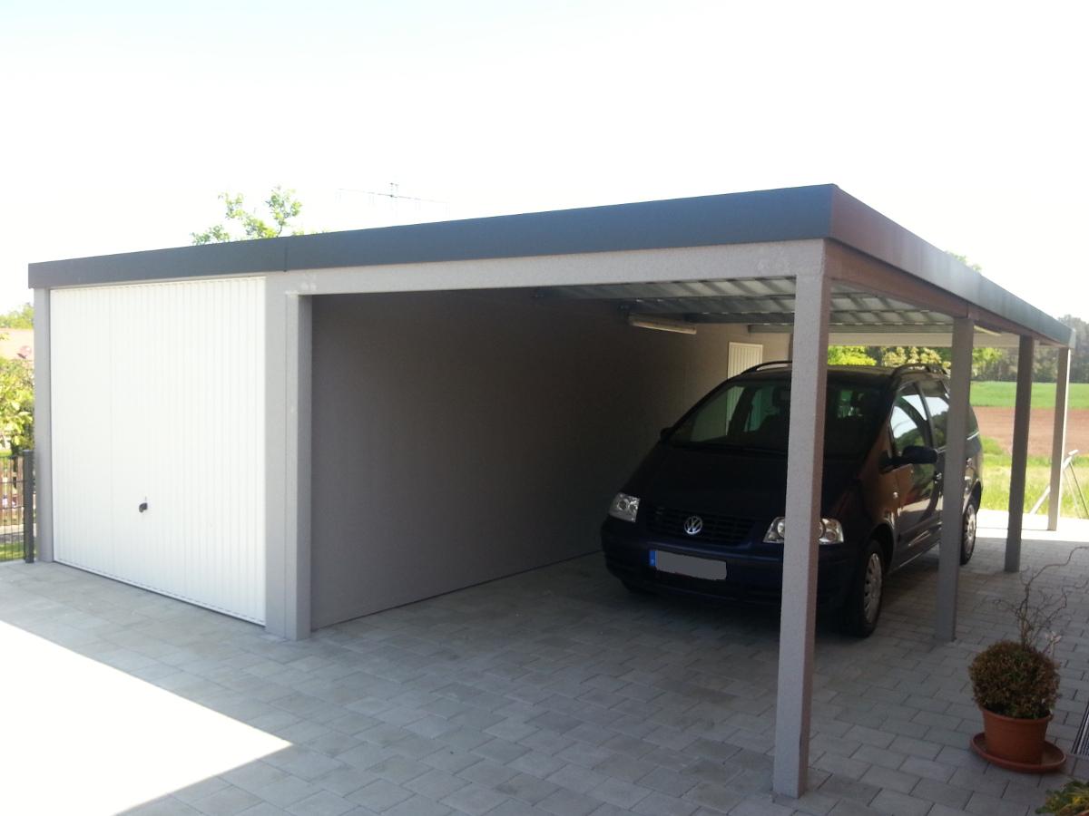 STAHL-Einzelgarage mit Schwingtor + Carport-Anbau - BRANDL