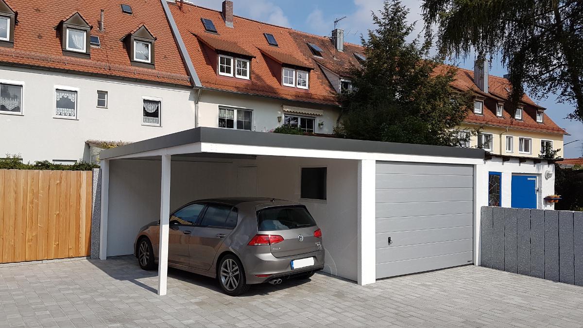 STAHL-Einzelgarage mit Sektionaltor + Anbau-Carport - BRANDL