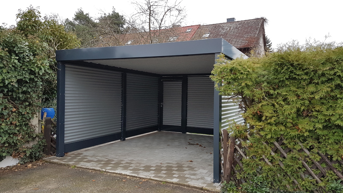carport aus stahl mit wandelementen brandl. Black Bedroom Furniture Sets. Home Design Ideas