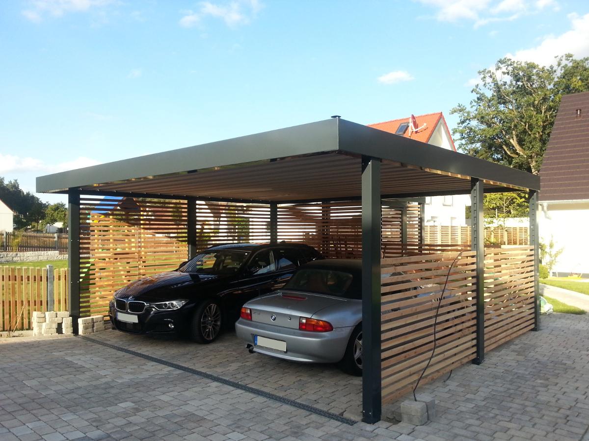 Doppel-Carport aus Stahl – mit Geräteraum (Abstellkammer) hinten - BRANDL