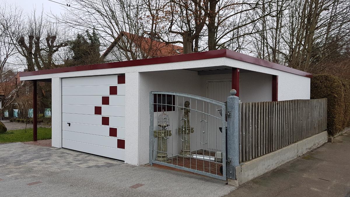 Einzelgarage und Anbau-Carport mit Geräteraum - BRANDL