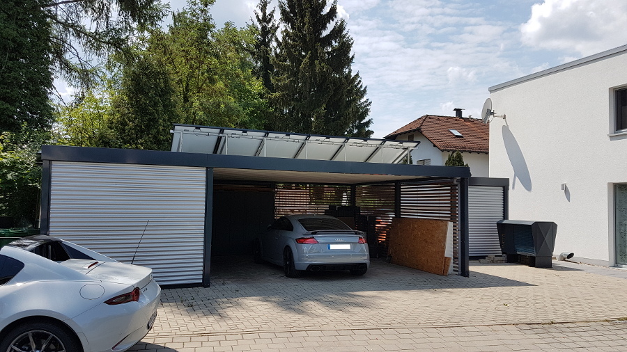 Geräteraum-Anbau an bestehendes Carport aus Stahl - BRANDL