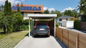Einzel-Carport aus Stahl mit Wandelementen bauseits - BRANDL