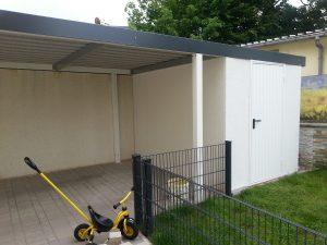 Einzel carport aus stahl mit ger teraum hinten brandl for Carport genehmigung bayern
