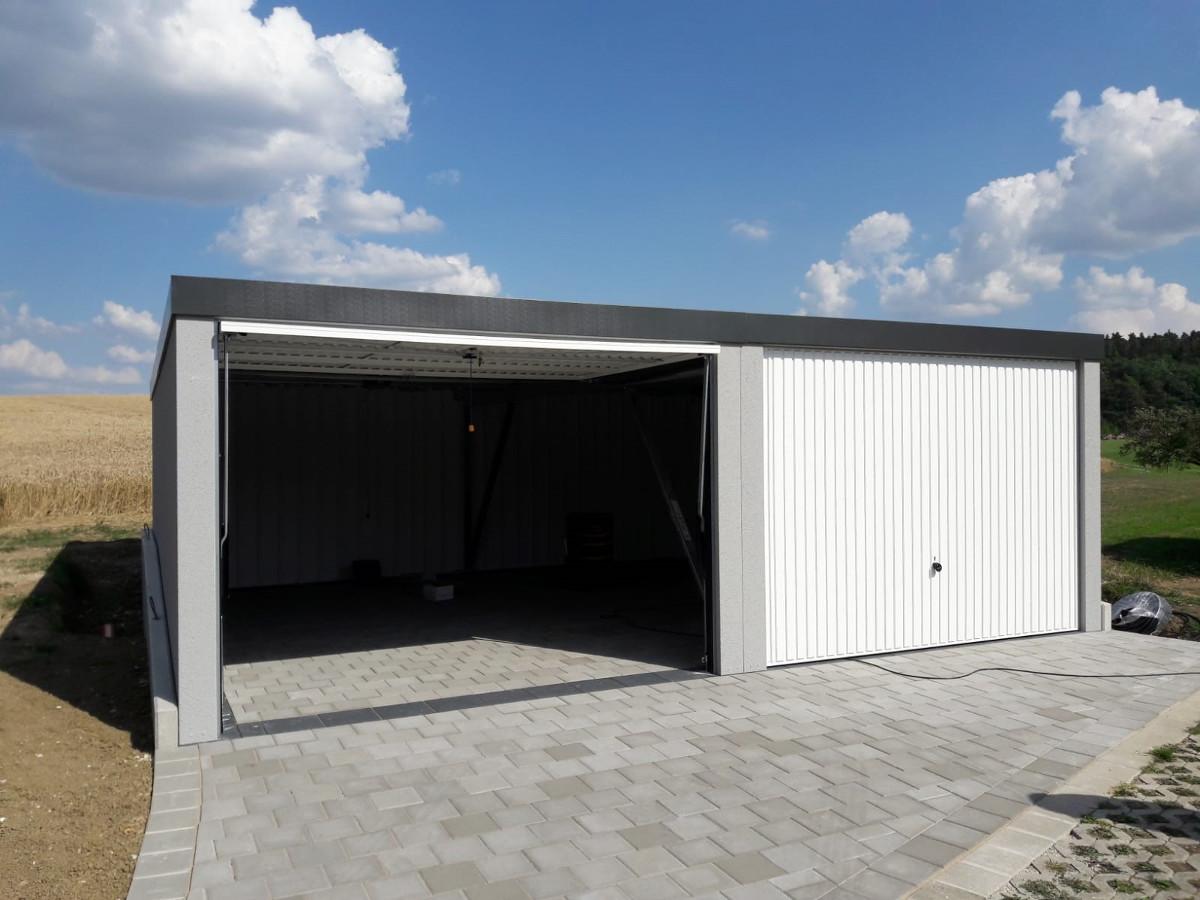 Doppel-Garage aus Stahl mit Schwingtoren - BRANDL