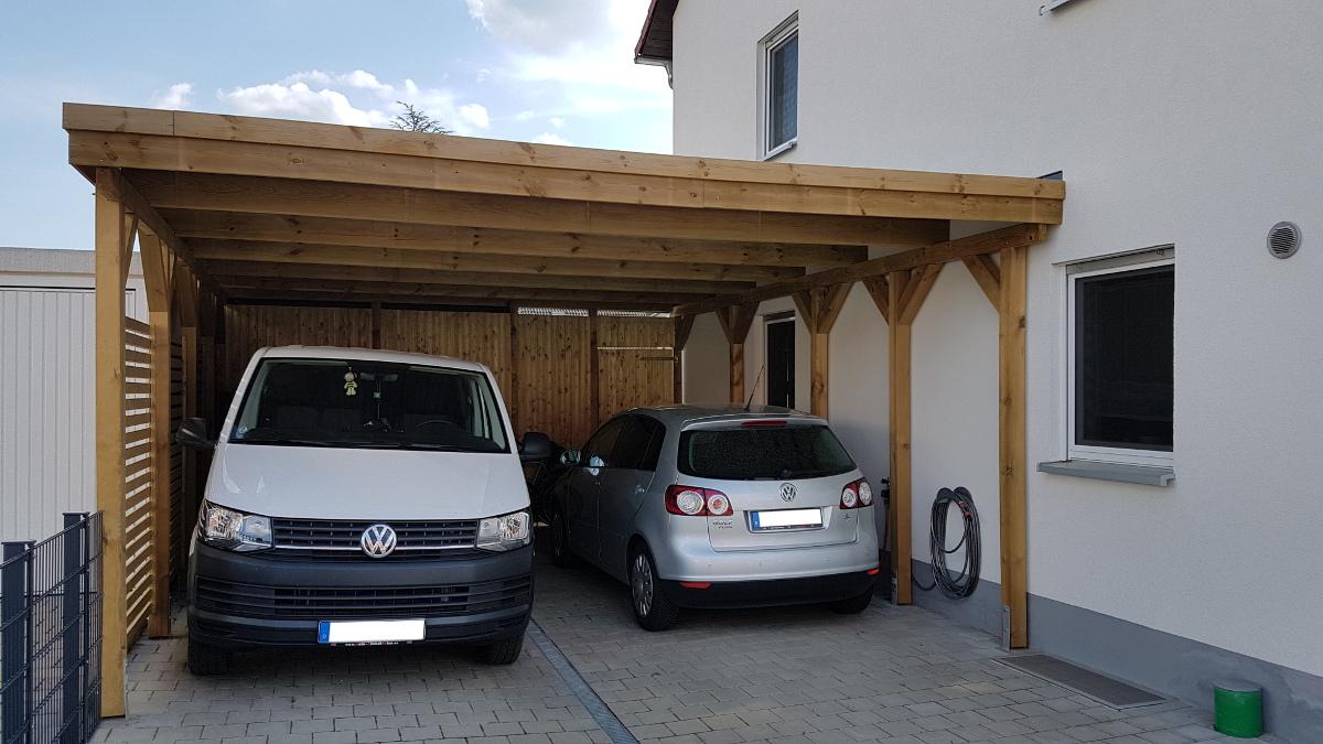 Doppel Carport Aus Holz Mit Abstellkammer Hinten Brandl