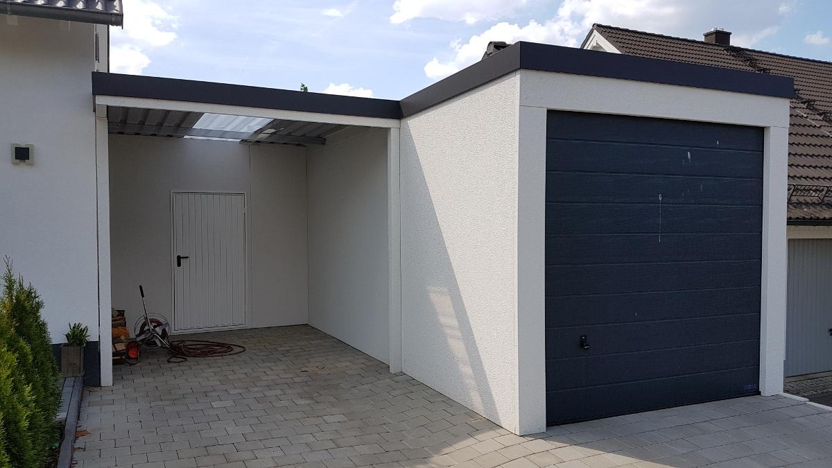 STAHL-Einzelgarage mit Sektionaltor + Anbau-Carport + Geräteraum hinten quer - BRANDL