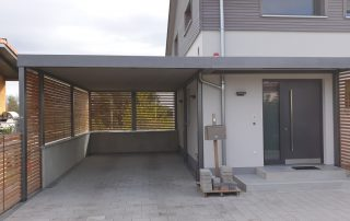 Carport aus Stahl + Hauseingangsüberdachung (Vordach) - BRANDL
