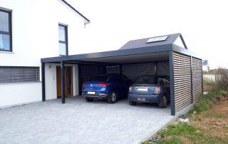 Doppel-Carport aus Stahl + Hauseingangsüberdachung (Vordach) - BRANDL