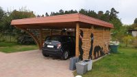 Doppel-Carport aus Holz mit Schindelblende und Bogenpfosten einseitig - BRANDL