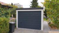 Einzel-Garage aus Stahl mit Sektionaltor + Überdachung hinten - BRANDL